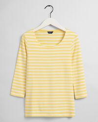 Geripptes Streifen-T-Shirt mit 3/4-Arm