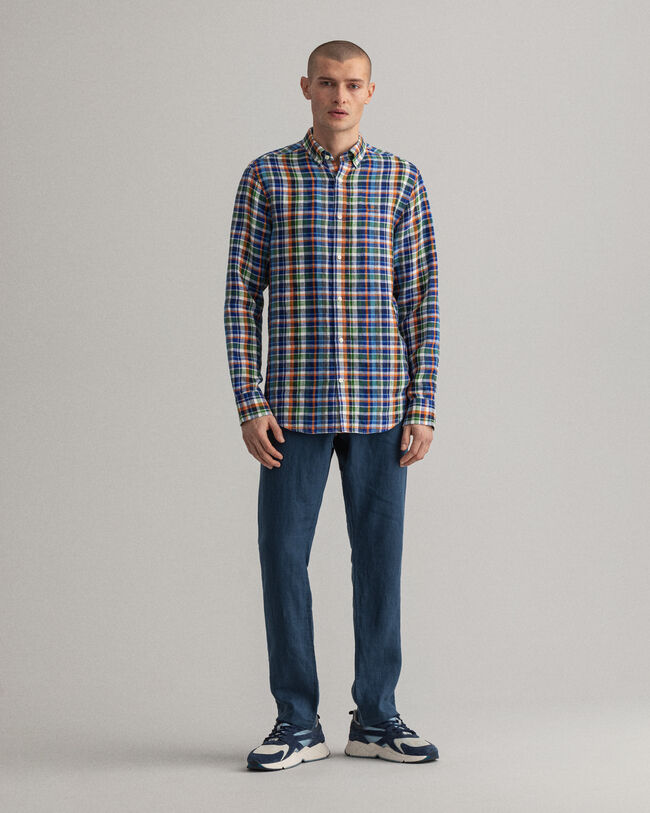 Regular Fit Leinen Hemd im Madras-Karo