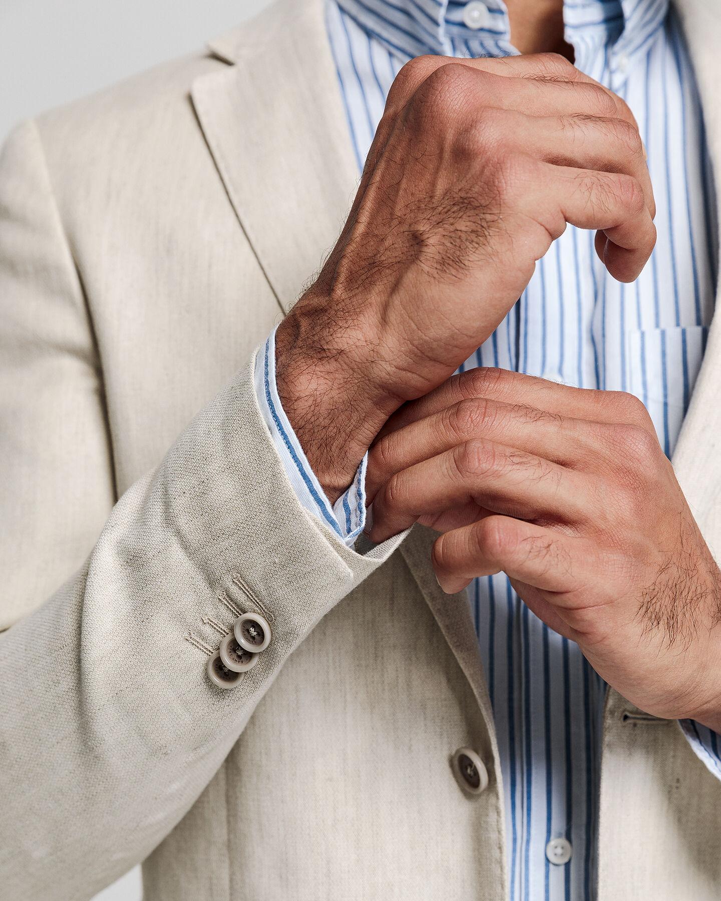 Slim Fit Stretch Leinen Anzugjacke