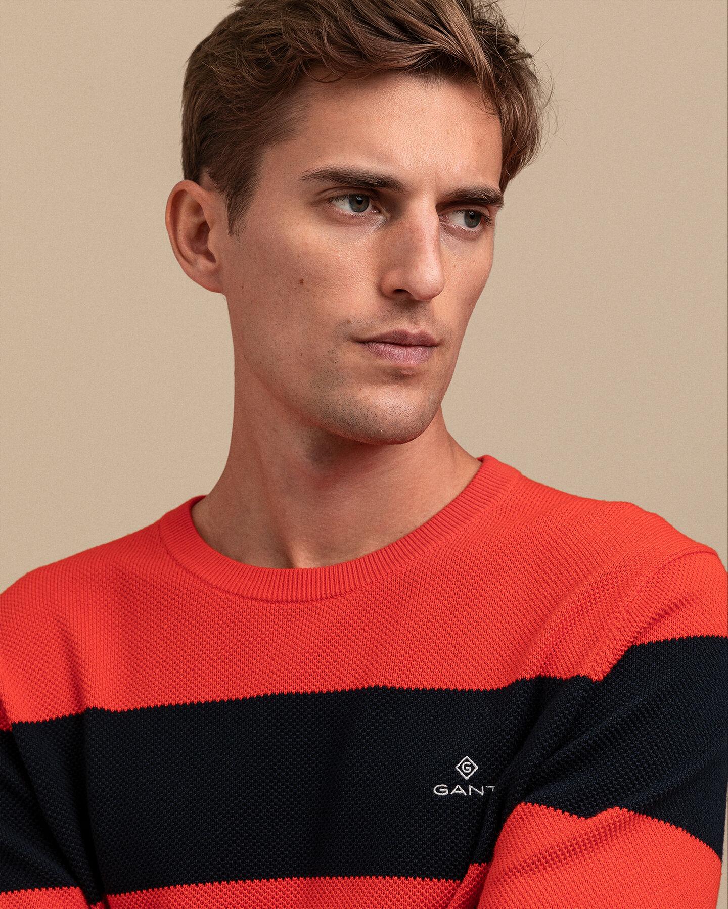 Bunt gestreifter Baumwoll Piqué Pullover