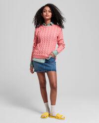 Teen Girls Baumwoll-Rundhalspullover mit Zopfmuster