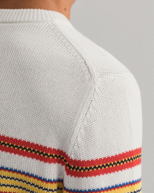 Rundhalspullover mit mehrfarbigen Streifen