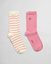 2er-Pack Socken Einfarbig & Gestreift