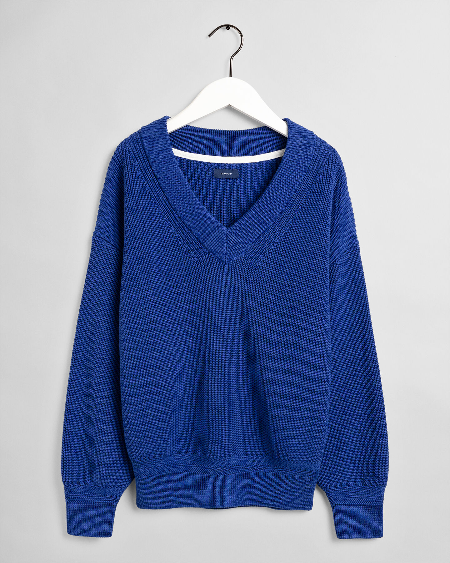 Gerippter V-Neck Pullover
