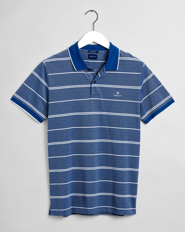 Gestreiftes Oxford Piqué Poloshirt in 4 Farben
