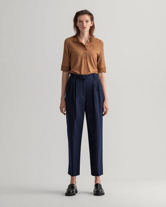 Wool-Blend High-Waisted Pleated Slacks