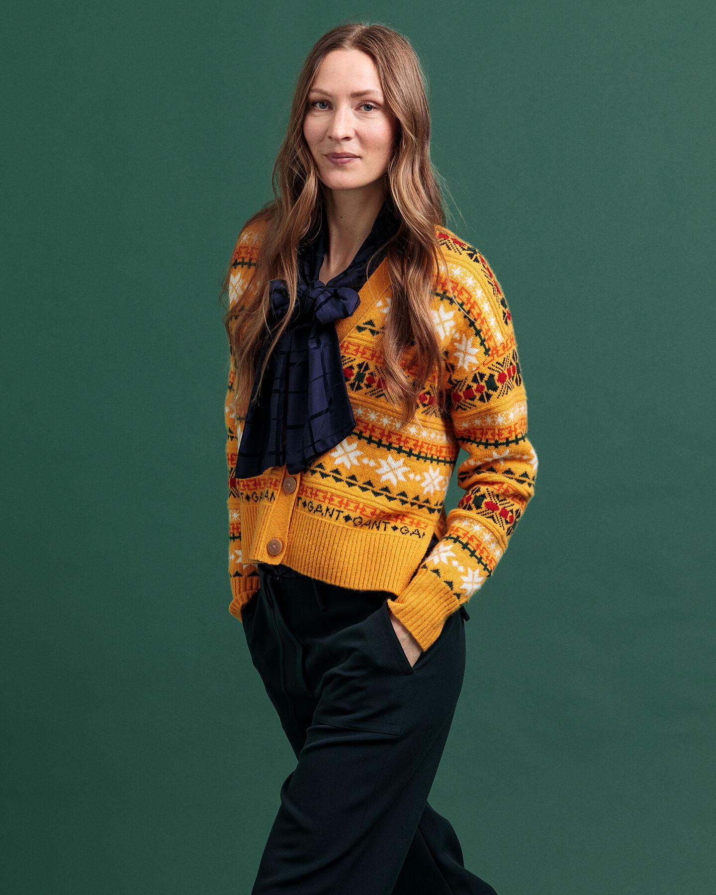 Winter Strickjacke mit Fair-Isle-Muster