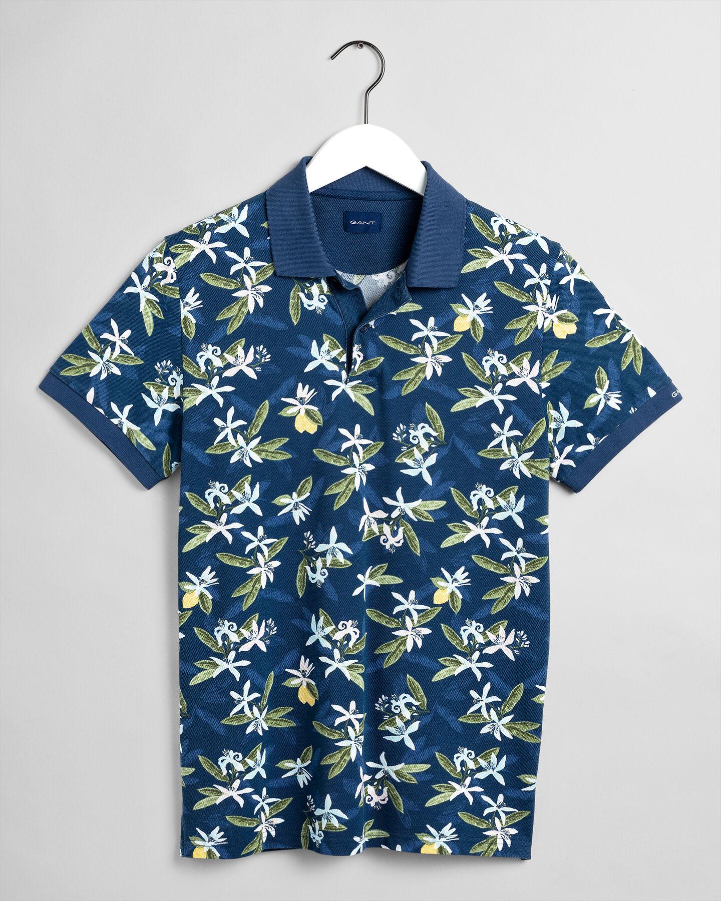 Lemon Flower Print Piqué Poloshirt