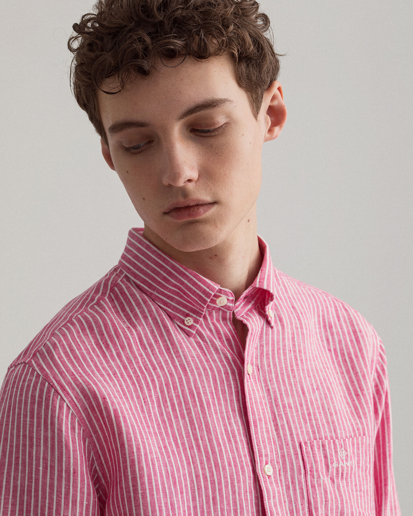 Regular Fit Leinen Hemd mit Streifen