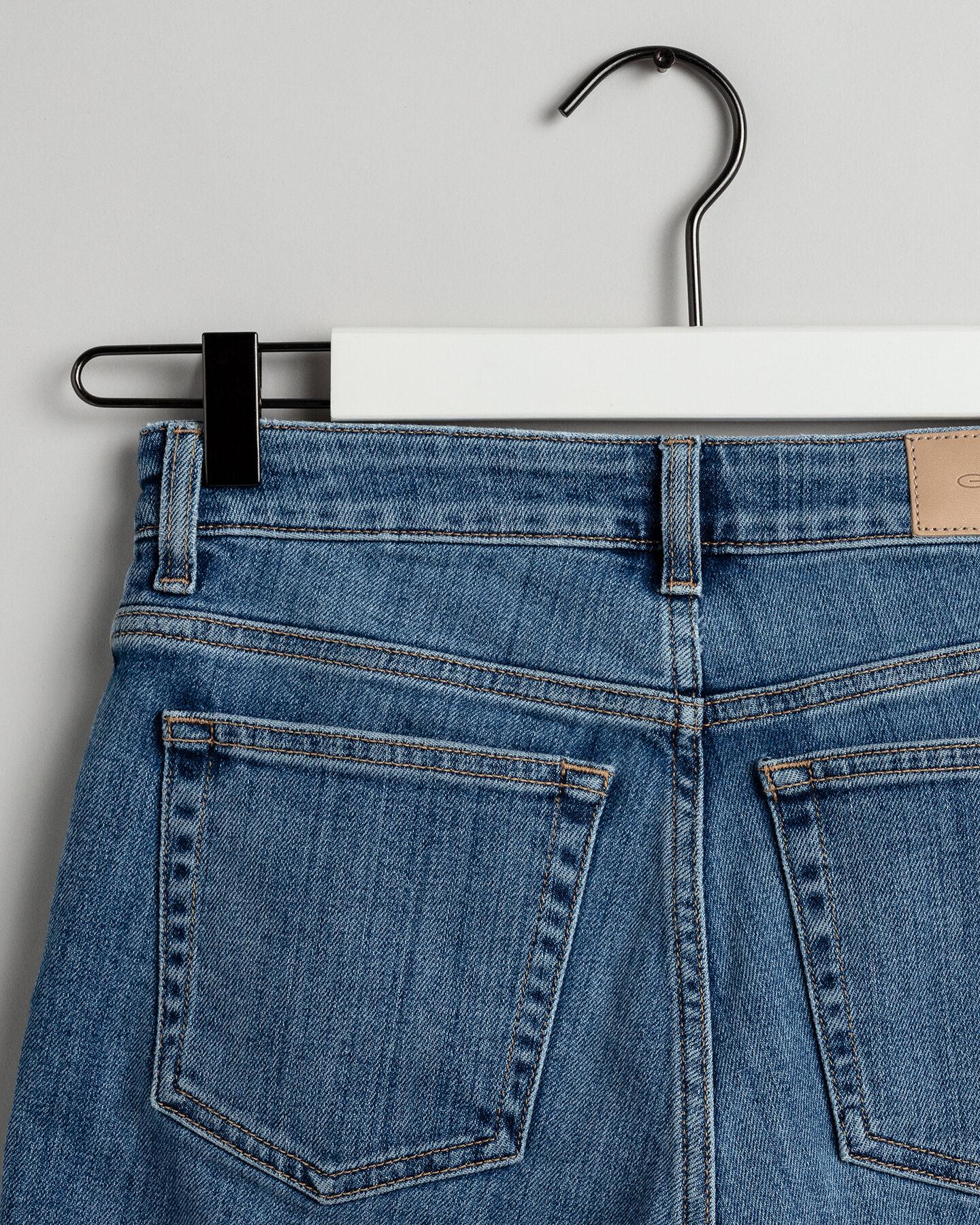 Blaue Slim Fit Capri Jeans