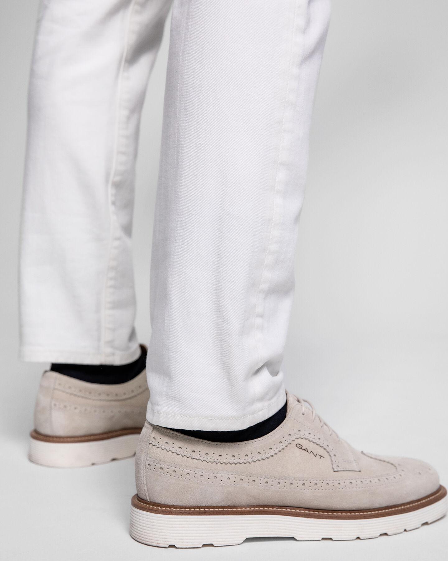Ecrufarbene Slim Fit Jeans