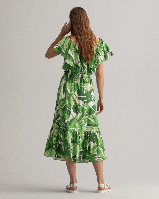 Palm Breeze Rüschenkleid mit Print