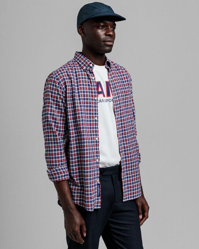 Tech Prep™ Regular Fit Twill Hemd mit Mini-Tartan-Muster