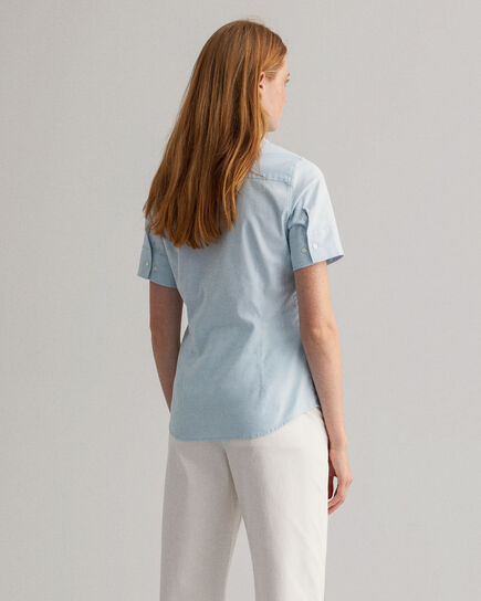 Stretch Kurzarm Oxford-Bluse
