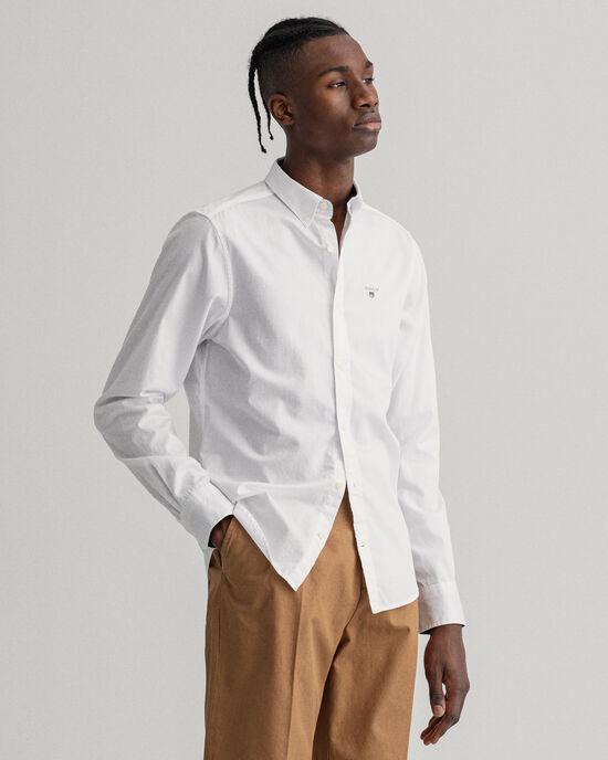 Slim Fit Dobby Oxford-Hemd mit Punkten