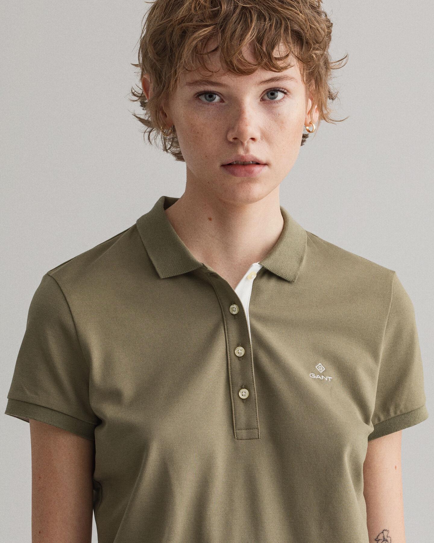 Piqué Poloshirt mit Kontrastkragen