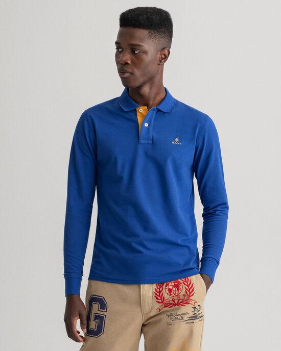 Piqué Rugger Langarm-Poloshirt mit Kontrastkragen