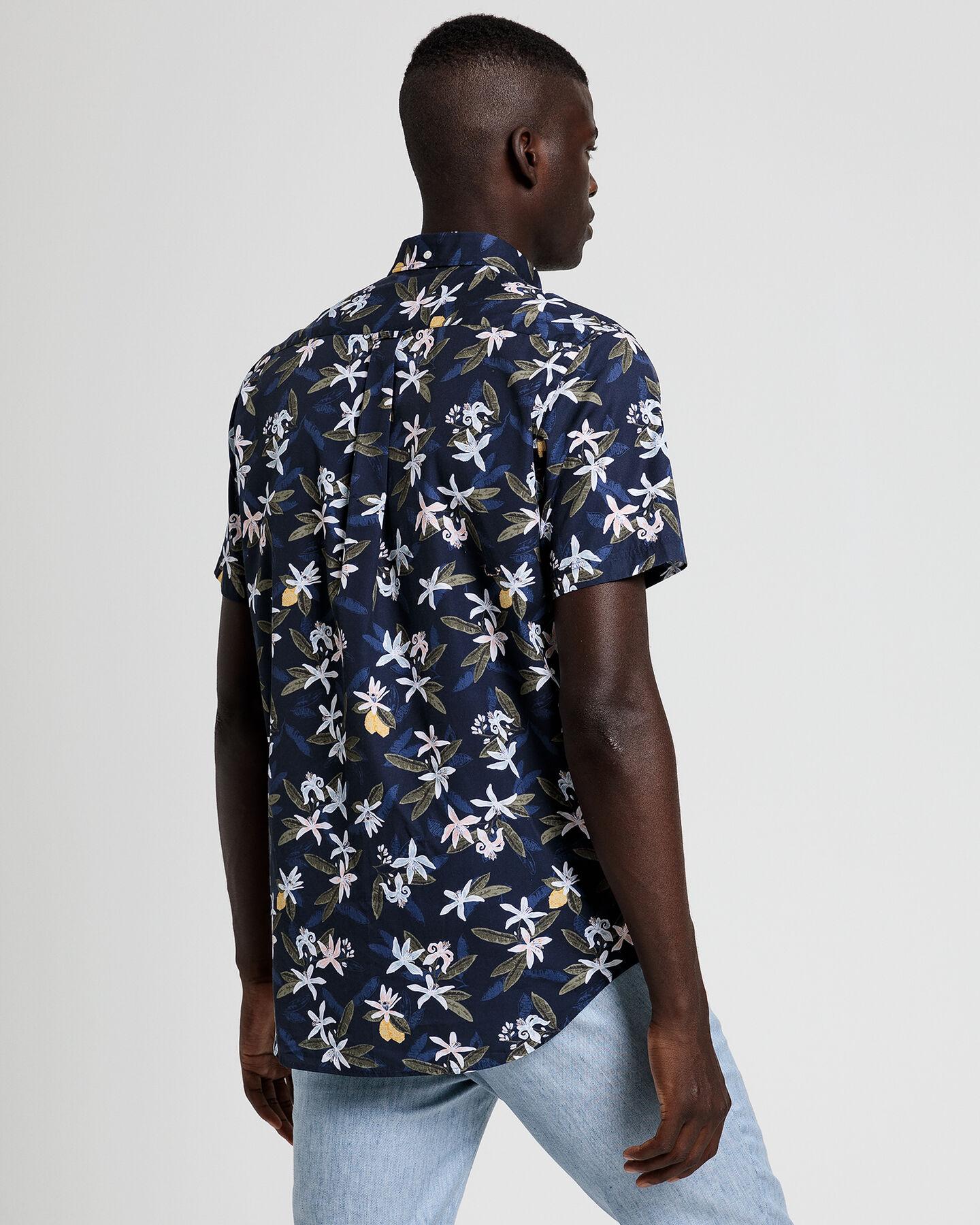 Lemon Flower Print Regular Fit Kurzarm Hemd
