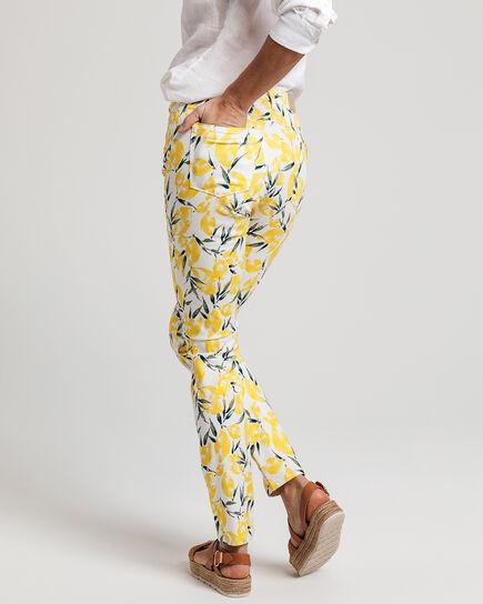 Lemon Print Skinny Satin Jeans
