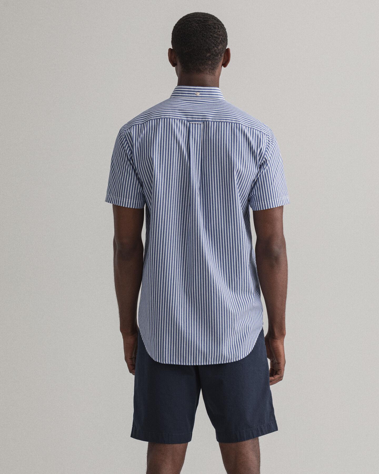Regular Fit Broadcloth Kurzarm Hemd mit Streifen