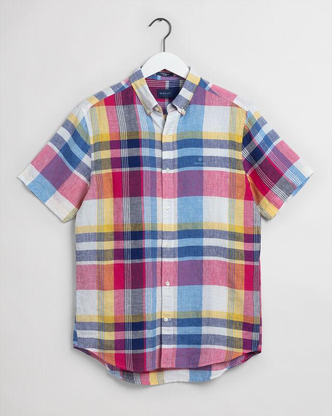 Regular Fit Leinen Kurzarm Hemd im Madras-Karo